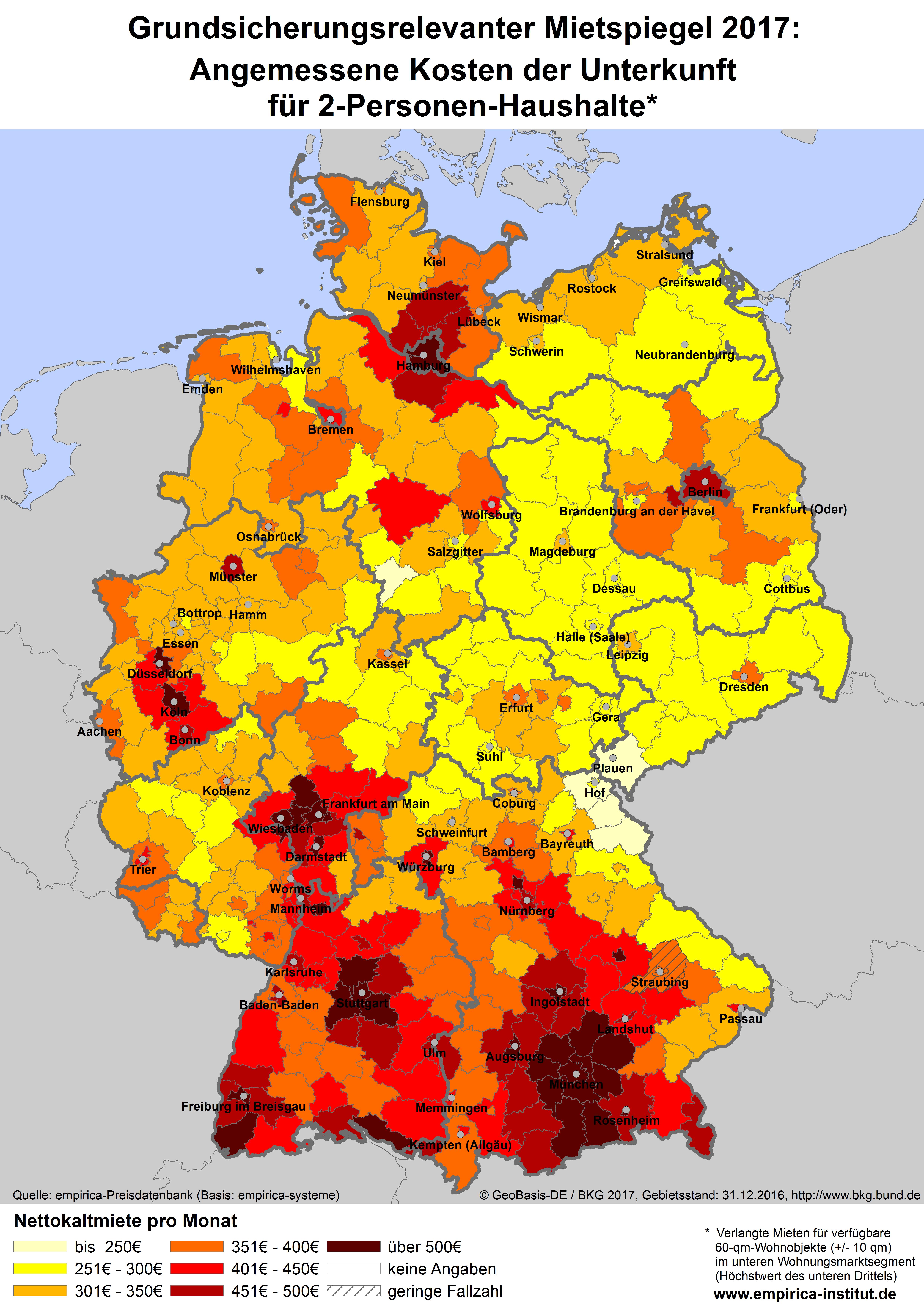mietspiegel deutschland karte empirica newsletter 1/2018 | empirica mietspiegel deutschland karte
